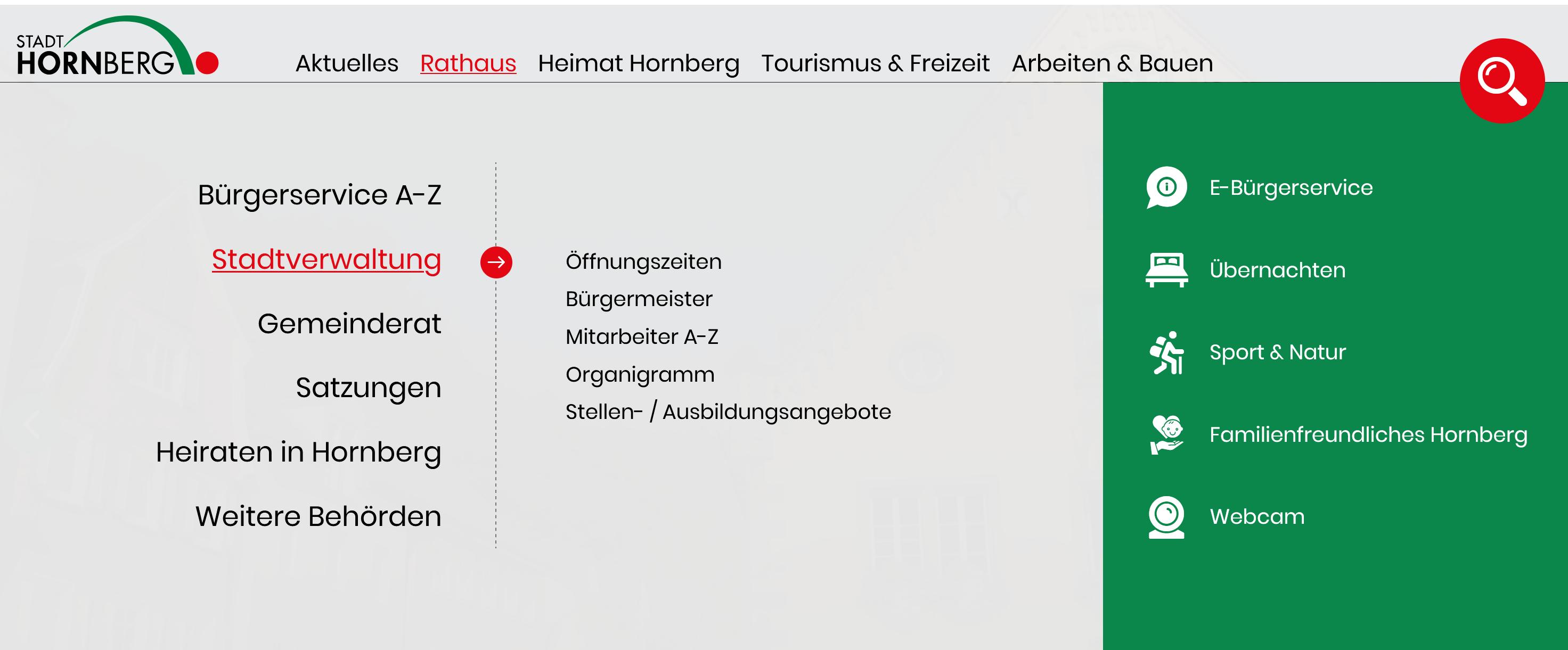 Menü von der Stadt Hornberg