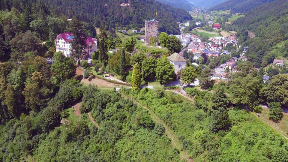 Blick auf den Schlossberg mit Hotel Schloss Hornberg und Schlossturm