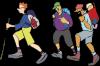 Karikatur einer Wandergruppe