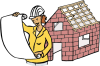 Karikatur einer Architektin mit Bauplänen