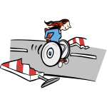 Karikatur einer Rollstuhlfahrerin