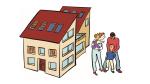 Karikatur einer Familie vor einem Haus