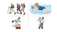 Karikatur von verschiedenen Sportaktivitäten