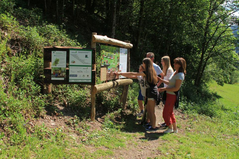 Ein Ehepaar mit ihren drei Töchtern vor einer Infotafel auf dem Waldlehrpfad Hasenhof