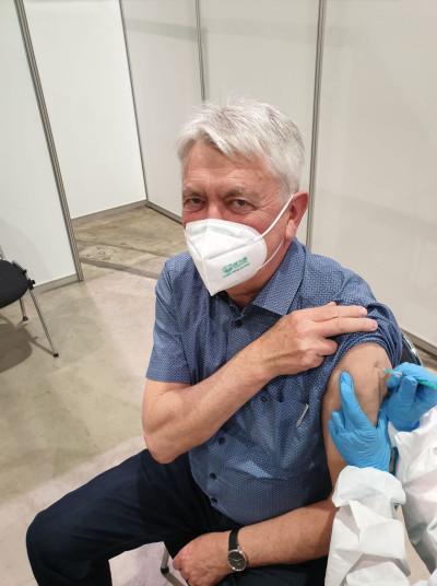 Bürgermeister Scheffold beim Impftermin